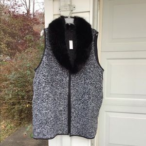 NWT Talbots Faux Fur Neck Heathered Long Vest